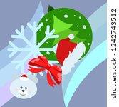 new year card bow bear... | Shutterstock .eps vector #1242743512