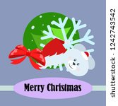 new year card bow bear... | Shutterstock .eps vector #1242743542