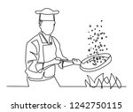 continuous line drawing of chef ... | Shutterstock .eps vector #1242750115