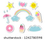 a set of cute stickers with... | Shutterstock .eps vector #1242780598