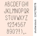 hand drawn simple flat font.... | Shutterstock .eps vector #1242788578