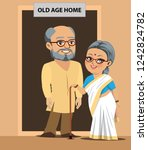 an old indian man and woman are ... | Shutterstock .eps vector #1242824782