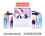 breaking news tv studio  mass... | Shutterstock .eps vector #1242825238