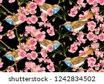 cherry tree flowers with a bird ... | Shutterstock . vector #1242834502