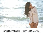 beautiful woman smiling  | Shutterstock . vector #1242859642