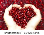 pomegranate seeds in woman... | Shutterstock . vector #124287346