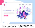 freelancers service isometric... | Shutterstock .eps vector #1242880525