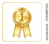 award ribbon gold icon. blank... | Shutterstock . vector #1242889102