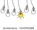 many lamps hanging from above.... | Shutterstock .eps vector #1242903388