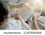 cosy brunette at home on couch... | Shutterstock . vector #1242908368