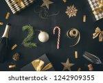 happy new year  baubles  gift...   Shutterstock . vector #1242909355