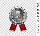 silver medal with red ribbon.... | Shutterstock .eps vector #1242921502