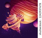 futuristic starship ... | Shutterstock .eps vector #1242937678