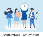 characters of people holding... | Shutterstock .eps vector #1242944905