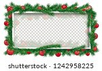 christmas banner with twigs ... | Shutterstock .eps vector #1242958225