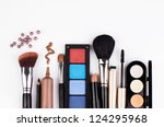 makeup brush and cosmetics  on... | Shutterstock . vector #124295968