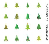 christmas tree set  vector... | Shutterstock .eps vector #1242978148
