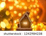 christmas gingerbread house...   Shutterstock . vector #1242984238