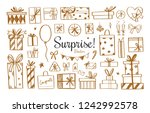 vector set of doodle icons of... | Shutterstock .eps vector #1242992578