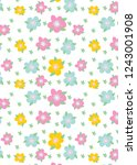 pattern with flowers and leaves....   Shutterstock .eps vector #1243001908