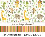 seamless baby pattern with lion ... | Shutterstock . vector #1243012738