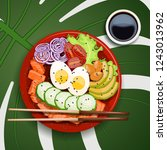 white round poke bowl with... | Shutterstock .eps vector #1243013962