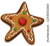 delicious christmas cookie.... | Shutterstock .eps vector #1243031065