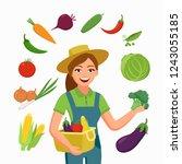 girl farmer and various...   Shutterstock .eps vector #1243055185
