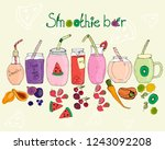 smoothie bar  different taste... | Shutterstock .eps vector #1243092208