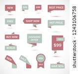 vector stickers  price tag ... | Shutterstock .eps vector #1243106758