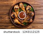 grilled chicken legs with...   Shutterstock . vector #1243112125