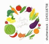 fresh vegetables around the... | Shutterstock .eps vector #1243118758