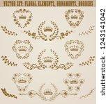 set of golden monograms with... | Shutterstock .eps vector #1243141042