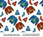 holiday christmas seamless... | Shutterstock .eps vector #1243142032