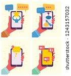 hand holding smartphones with... | Shutterstock .eps vector #1243157032
