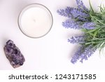aroma candle in glass with... | Shutterstock . vector #1243171585