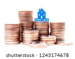 home loan sign with stack of... | Shutterstock . vector #1243174678