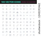 100 vector thin line icons set... | Shutterstock .eps vector #1243192462