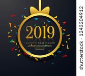 2019 happy new year text... | Shutterstock .eps vector #1243204912