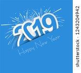 elegant 2019 happy new year... | Shutterstock .eps vector #1243204942