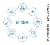 mixer icons. set of 8 outline...   Shutterstock .eps vector #1243209502