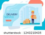 delivery service concept for... | Shutterstock .eps vector #1243210435