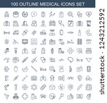 medical icons. set of 100... | Shutterstock .eps vector #1243212592