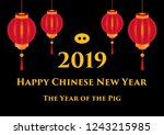 chinese new year 2019 year of...   Shutterstock .eps vector #1243215985