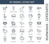 animal icons. set of 25 outline ... | Shutterstock .eps vector #1243216912