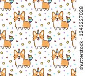 seamless pattern with welsh... | Shutterstock .eps vector #1243227028