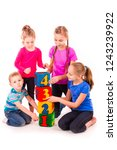 happy kids holding blocks with... | Shutterstock . vector #1243239922