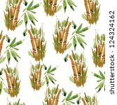 green and yellow bamboo pattern.... | Shutterstock . vector #124324162