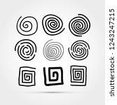 set of hand drawn spirals | Shutterstock .eps vector #1243247215