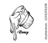 honey sketches bucket with... | Shutterstock .eps vector #1243255258